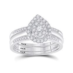 1/2 CTW Round Diamond Teardrop Cluster 3-Piece Bridal Wedding Engagement Ring 14kt White Gold - REF-