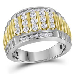 1 CTW Mens Round Diamond Cluster Ring 14kt Two-tone White Gold - REF-107X9T