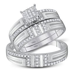1/2 CTW His & Hers Round Diamond Cluster Matching Bridal Wedding Ring 10kt White Gold - REF-35R9H