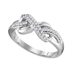 1/5 CTW Round Diamond Infinity Ring 10kt White Gold - REF-21A5N