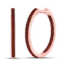 1/4 CTW Round Red Color Enhanced Diamond Hoop Earrings 10kt Rose Gold - REF-24M3A