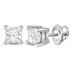 3/4 CTW Princess Diamond Solitaire Earrings 14kt White Gold - REF-77T9K