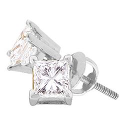 1/4 CTW Unisex Princess Diamond Solitaire Stud Earrings 14kt White Gold - REF-20H3W