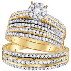 1 & 1/4 CTW His & Hers Round Diamond Solitaire Matching Bridal Wedding Ring 14kt Yellow Gold - REF-1
