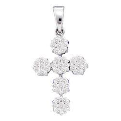 1/2 CTW Round Diamond Cluster Cross Religious Pendant 14kt White Gold - REF-35W9F