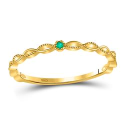 0.01 CTW Round Emerald Solitaire Milgrain Stackable Ring 10kt Yellow Gold - REF-9F6M