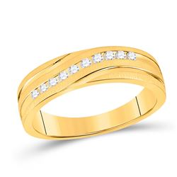 1/4 CTW Mens Machine Set Round Diamond Wedding Channel Ring 10kt Yellow Gold - REF-35N9Y
