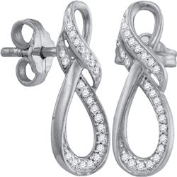 1/6 CTW Round Diamond Fashion Earrings 10kt White Gold - REF-11X9T