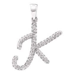 1/6 CTW Round Diamond Letter K Pendant 10kt White Gold - REF-10N8Y