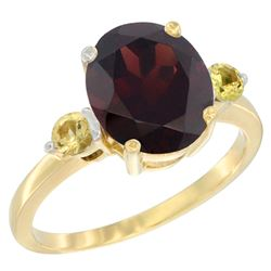 2.64 CTW Garnet & Yellow Sapphire Ring 14K Yellow Gold - REF-34R8H