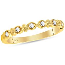 1/10 CTW Round Diamond Milgrain Stackable Ring 14kt Yellow Gold - REF-19M2A
