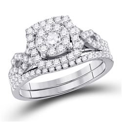 1 CTW Round Diamond Bridal Wedding Engagement Ring 14kt White Gold - REF-75A3N
