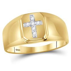1/20 CTW Mens Round Diamond Cross Ring 10kt Yellow Gold - REF-15T3K