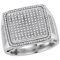 3/4 CTW Mens Round Diamond Square Cluster Ring 10kt White Gold - REF-60R3H