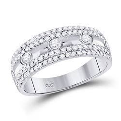 1/2 CTW Round Diamond Anniversary Ring 10kt White Gold - REF-39A6N