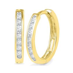 1/6 CTW Round Channel-set Diamond Hoop Earrings 10kt Yellow Gold - REF-16X8T