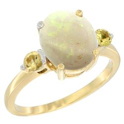 1.65 CTW Opal & Yellow Sapphire Ring 14K Yellow Gold - REF-31R7H