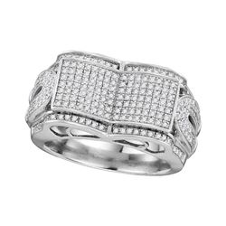 3/4 CTW Mens Round Diamond Symmetrical Concave Rectangle Cluster Ring 10kt White Gold - REF-71K9R