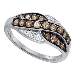 1/2 CTW Round Brown Diamond Ring 10kt White Gold - REF-24H3W