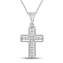 1/10 CTW Round Diamond Roman Cross Pendant 10kt White Gold - REF-7H8W