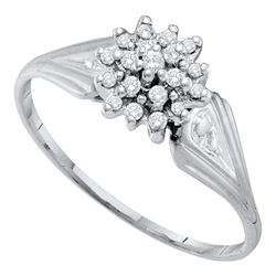 1/10 CTW Round Diamond Cluster Ring 10kt White Gold - REF-9T6K