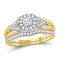 1/2 CTW Round Diamond Bridal Wedding Engagement Ring 14kt Yellow Gold - REF-65K9R