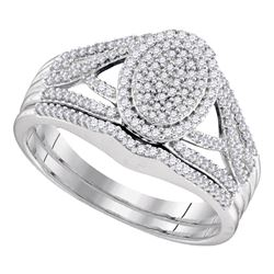 3/8 CTW Round Diamond Bridal Wedding Engagement Ring 10kt White Gold - REF-30R3H