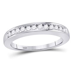 1/4 CTW Round Diamond Wedding Channel Set Ring 14kt White Gold - REF-24K3R