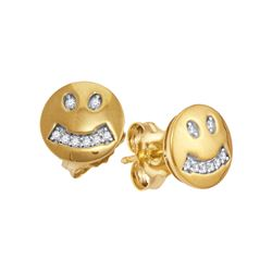 1/20 CTW Round Diamond Smiley Face Earrings 10kt Yellow Gold - REF-9R6H