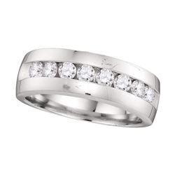 1 CTW Mens Round Diamond Wedding Ring 14kt White Gold - REF-137W9F