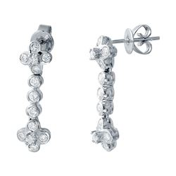 0.85 CTW Diamond Earrings 14K White Gold - REF-79F2N