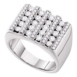1 & 1/2 CTW Mens Round Channel-set Diamond Square Stripe Cluster Ring 14kt White Gold - REF-162R3H