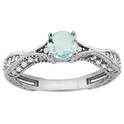 0.67 CTW Aquamarine & Diamond Ring 14K White Gold - REF-68A9X