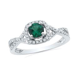 3/4 CTW Round Lab-Created Emerald Solitaire Diamond Ring 10kt White Gold - REF-20R3H