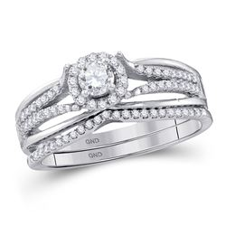 1/2 CTW Round Diamond Bridal Wedding Engagement Ring 10kt White Gold - REF-44T4K