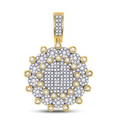 1 CTW Mens Round Diamond Circle Charm Pendant 10kt Yellow Gold - REF-60N3Y