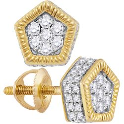 1/2 CTW Mens Round Diamond Polygon Fluted Cluster Stud Earrings 10kt Yellow Gold - REF-26X3T