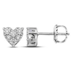 1/3 CTW Round Diamond Heart Cluster Stud Earrings 10kt White Gold - REF-25W5F