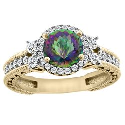 1.46 CTW Mystic Topaz & Diamond Ring 14K Yellow Gold - REF-77X4M