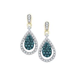 5/8 CTW Round Blue Color Enhanced Diamond Teardrop Dangle Earrings 10kt Yellow Gold - REF-41R9H