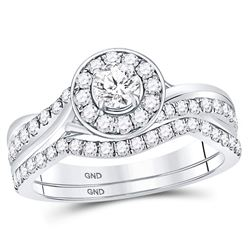 1 CTW Round Diamond Bridal Wedding Engagement Ring 14kt White Gold - REF-95T9K