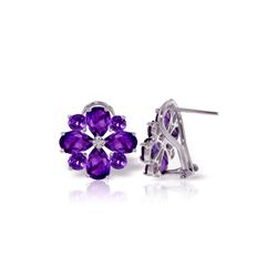 Genuine 4.85 ctw Amethyst Earrings 14KT White Gold - REF-58Z4N