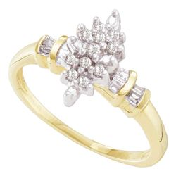 1/6 CTW Round Prong-set Diamond Marquise-shape Cluster Ring 10kt Yellow Gold - REF-14X4T