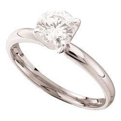 7/8 CTW Round Diamond Solitaire Bridal Wedding Engagement Ring 14kt White Gold - REF-185W9F