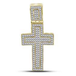 1/2 CTW Mens Round Diamond Roman Cross Charm Pendant 10kt Yellow Gold - REF-41X9T