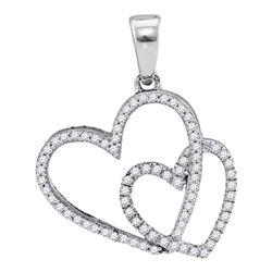 1/5 CTW Round Diamond Double Heart Pendant 10kt White Gold - REF-14A4N