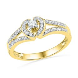 1/4 CTW Round Diamond Heart Promise Bridal Ring 10kt Yellow Gold - REF-22A8N