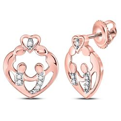 1/12 CTW Round Diamond Mother Child Heart Stud Earrings 10kt Rose Gold - REF-10K8R