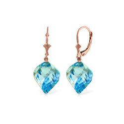 Genuine 27.85 ctw Blue Topaz Earrings 14KT Rose Gold - REF-74N9R