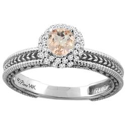 0.69 CTW Morganite & Diamond Ring 14K White Gold - REF-54R8H